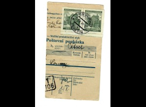 Judaika: B&M 1941: Zahlkartenabschnitt aus Theresienstadt nach Laun