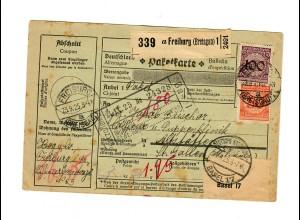 Paketkarte 1925 von Freiburg nach Altstätten, St. Gallen
