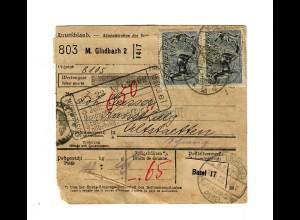 Paketkarte 1922 von M. Gladbach nach Altstätten, St. Gallen