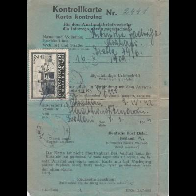 Generalgouvernement (GG) Kontrollkarte für Auslandsbriefverkehr, Krakau 1944