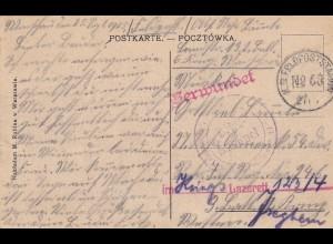 AK Warszawa 1915: An Inf. Reg.: Verwundet - Kriegs-Lazarett