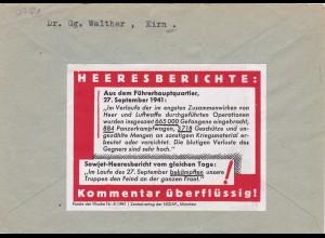 Parole der Woche: PdW: Nr. 41/1941 auf Brief aus Kirn