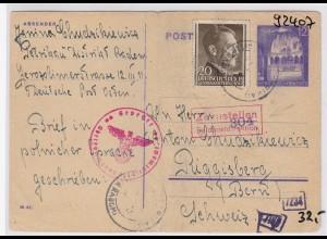 GG: Brief Interniertenpost - Riggisberg 2x Zensur, Ganzsache, Bug