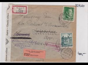 GG: Brief Interniertenpost - Einschreiben 2x Zensur, Herisau