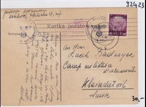GG: Brief Interniertenpost - Postkarte 2x Zensur, Kleindietwil
