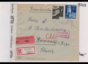 GG: Brief Interniertenpost - Einschreiben 2x Zensur, Chur