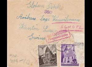GG: Brief Interniertenpost - Brief 2x Zensur, Schötz