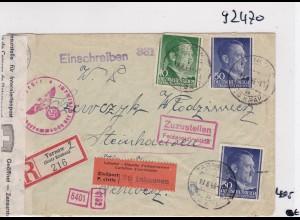 GG: Brief Interniertenpost - Einschreiben 2x Zensur, Steinhausen