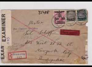 GG: Eilboten Brief Brzesko nach New York City, Zensur 2x