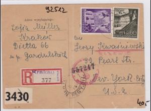 GG: Einschreiben Postkarte von Krakau nach USA