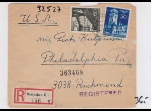 GG: Einschreiben Warschau nach Philadelphia/USA