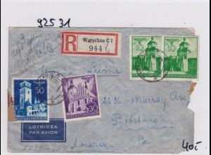 GG: Luftpostbrief Einschreiben von Warschau nach USA, Zensur
