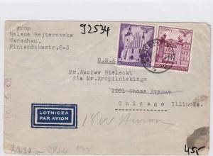 GG: Luftpostbrief Warschau nach Chicago/USA