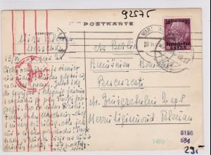 GG: Postkarte von Warschau nach Beograd / Rumänien - Zensur