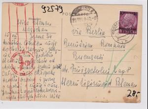 GG: Postkarte von Warschau nach Rumänien - Zensur