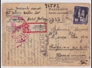 GG: Einschreiben Postkarte von Sniatyn nach Rumänien, Zensur, Bug