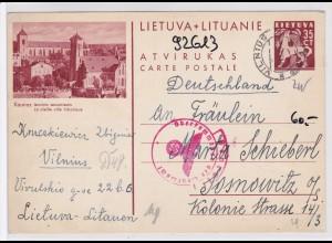 Ganzsache von Litauen/Lietuva nach Sosnowitz- Zensur