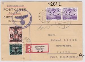 GG: Einschreiben-Postkarte-Rückantwort von Skarzysko nach Vaduz, selten