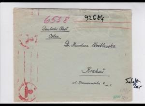 GG: Brief von Ungarn nach Krakau mit Inhalt, Interniertenpost