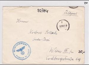 GG: Feldpost Nr. 45277 nach Wien, rückseitig V-Stempel