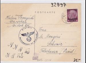 GG: Postkarte von Warschau in die Schweiz/Zensur