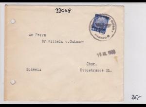 GG: Brief von Krakau, früher Brief 1939, nach Chur mit Zensur