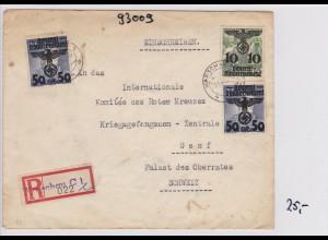 GG: Einschreiben Warschau an Rotes Kreuz-Kriegsgefangenen Zentrale/Schweiz