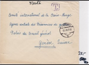 GG: Brief mit TAXE an Rotes Kreuz- Zentrale/Schweiz