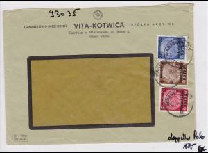 GG: Brief von Warschau nach Zürich/Schweiz- Zensur, Rückversicherung Vita