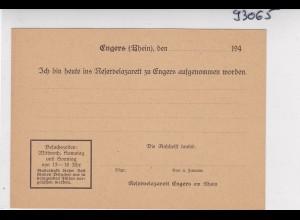 Aufnahmekarte Reservelazarett Engers/Rhein und Bestandskontrolle
