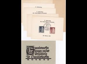 GG: Gedenkkarten Umschlag mit 6 Gedenkblätter, 2. Jahre GG, mit Blanko Blatt