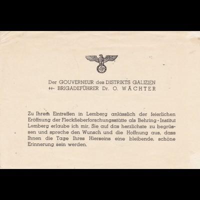 GG: Einladung SS-Brigadeführer, Gouverneur Otto Wächter/Galizien, Sonderstempel
