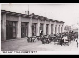 GG: AK Krakau Terassenkaffee mit Werbestempel, selten