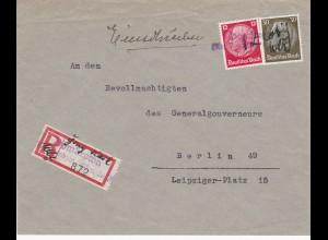 Oberschlessien: Einschreiben Dombrowa an Gouverneur GG/ Berlin, selt. Adresse