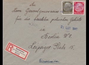 Einschreiben Dombrowa Oberschlessien an Gouverneur GG/ Berlin, selt. Adresse