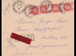 GG: Brief aus Frankreich nach Krakau, OKW Zensur, Eilbote