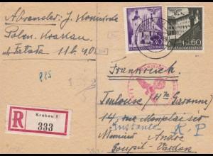 GG: Postkarte Einschreiben Krakau nach Frankreich