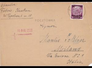 GG: Postkarte aus Krakau nach Rom, 16. Dezember 1939, frühe Post