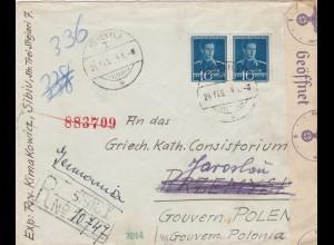 GG: Einschreiben von Sibiu/Rumänien nach Jaroslau, Griech. kath. Consistorium