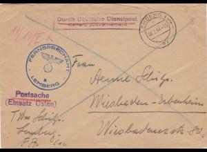 GG: Postsache Fernsprechamt Lemberg nach Wiesbaden, Einsatz Osten - Postschutz