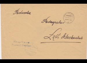 GG: Postsache Postamt Petrikau, doppelt verwendetes Kuvert
