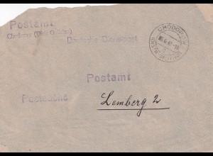 GG: Postsache Postamt Chodorow/Galizien nach Lemberg, Vorderseite