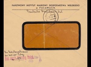 GG: Der Kreishauptmann Pulawy mit Brief: Frei durch Ablösung Reich