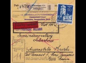 GG: Inland Paketkarte Wert Staatsdruckerei Warschau, Eilboten, Selbstbucher
