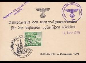 GG: Gedenkarte G1, langes f, Zusatzstempel DDP Osten, 7.11.1939, Sanok