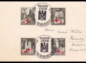 GG: Gedenkarte privat, Radom, gelaufen nach Reichenberg/Sudetenland
