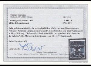 Generalgouvernement (GG) MiNr. 14I, gestempelt, BPP Fotobefund