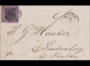 Baden: Brief 1861, mit Text Baden nach Lindenberg. MiNr. 4