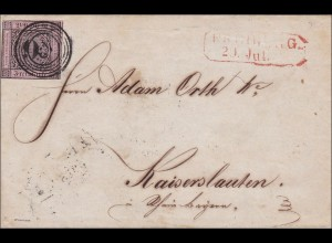 Baden: Briefumschlag 1852, MiNr. 4a, geprüft BPP, Freiburg nach Kaiserslautern