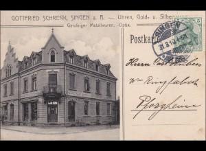 Baden: Ansichtskarte 1910 von Singen nach Pforzheim
